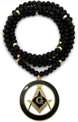 Shiny Jewelers USA Mens Freemason Masonic Compass Pendant with 6mm/30 Wooden Bead Necklace