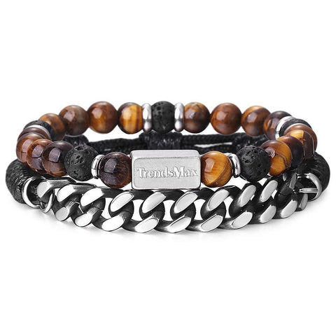 Trendsmax Set of 2 Tiger Eye Stone Braided Leather Bracelet Natural Lava-Men's