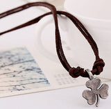 Hamoery Men Punk Alloy Leather Clover Chain Pendant Necklace