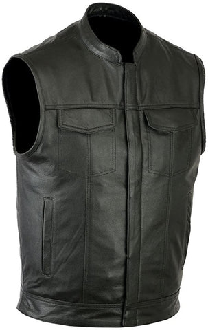 SOA Style Genuine Leather Motorbike Vest with inside pockets