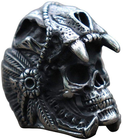 BAVAHA Indian Jaguar Warrior Skull Stainless Steel Ring for Men