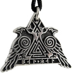 Pewter Odin's Ravens with Valknut Pendant - Huginn and Muninn Crow Necklace