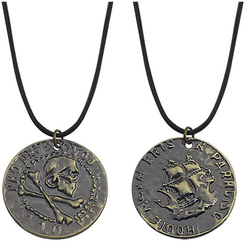 Antique Bronze Uncharted 4 Drake Engraved Skull Gold COIN Pendant Necklace,Black leather Chain