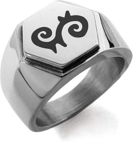 Stainless Steel Aztec Energy Rune Hexagon Crest Flat Top Biker Style Polished Ring
