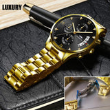 Men's Watches Luxury Fashion Casual Dress Chronograph Waterproof Military Quartz Wristwatches for Men Stainless Steel Band Gold Black