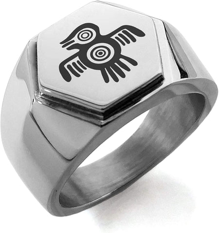 Stainless Steel Aztec Truth & Wisdom Eagle Rune Hexagon Crest Flat Top Biker Style Polished Ring