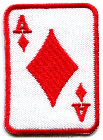 Ace of Diamonds red suit playing card poker retro casino biker rat pack applique iron-on patch new