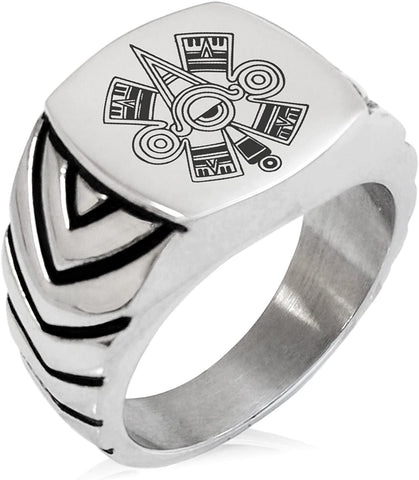 Tioneer Stainless Steel Aztec Ollin Third Eye Rune Chevron Pattern Biker Style Polished Ring