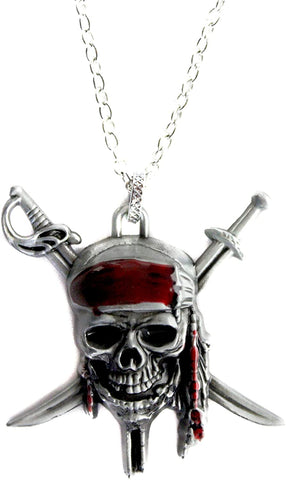 Western F.a.s.h.i.o.n Crossed Swords Pirate Skull Pendant Necklace