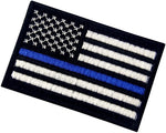 Tactical Embroidered Thin Blue Line USA Flag Fastener Hook & Loop Patch