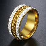 Trendsmax Bling 10mm unisex Rotatable Ring Gold Plated Iced out Pave-Men's