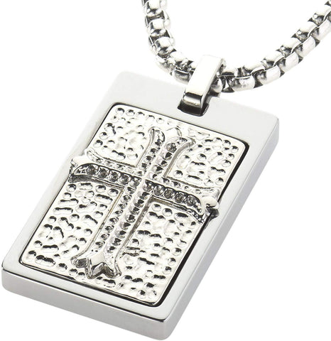 CERAMIC GESTALT Unique Tungsten Tag Necklace. Platinum Style Stainless Steel Celtic Cross Inlay.