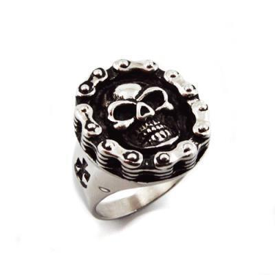 Biker Chain Skull Ring (Stainless Steel)