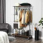 VASAGLE Clothes Rack, Clothing Garment Rack on Wheels, Rolling Clothes Organizer with 5-Tier, Industrial Pipe Style, Rustic Brown UHSR66BX