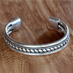 "NOVICA .925 Sterling Silver Twist Motif Cuff Bracelet, 6.0"", Strength of Celuk'"