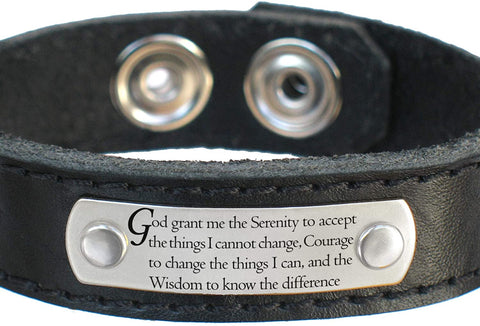 Serenity Prayer Bracelet, Thick Dakota Leather for Men