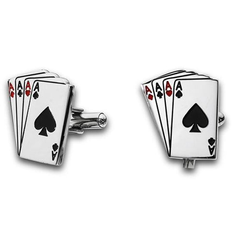 Stainless Steel Ace of Spade Cuff Links