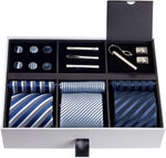 Premium Men's Gift Tie Set Silky Necktie Pocket Squares Tie Clips Cufflinks For Men