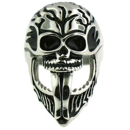 Polished Bearded Skull Stainless Steel Ring