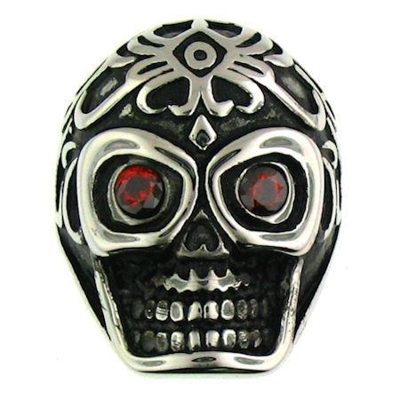 Skull With Red CZ Eyes Stainless Steel Polished Ring