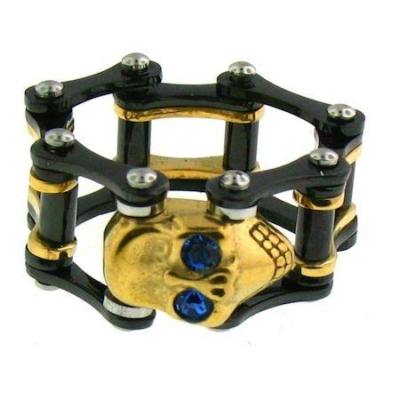 Blue CZ Eyes Gold Skull Black Bike Chain Stainless Steel Ring