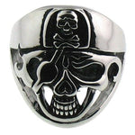 Eye Patch Skull With Skull Hat Stainless Steel Ring