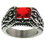 Red CZ Center Fleur De Lis Accents Stainless Steel Ring
