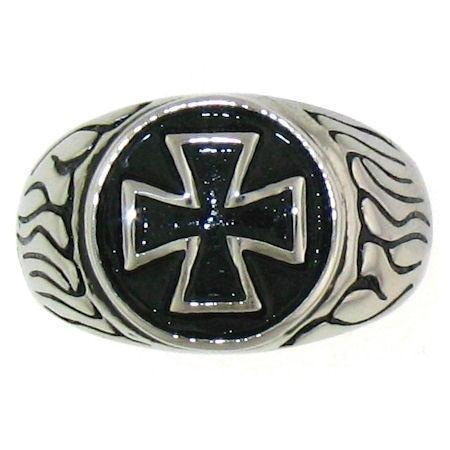 Highly Polished Maltese Cross Stainless Steel Ring