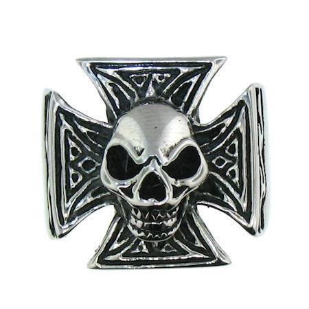 Polished Skull Maltese Cross Accent Stainless Steel Ring