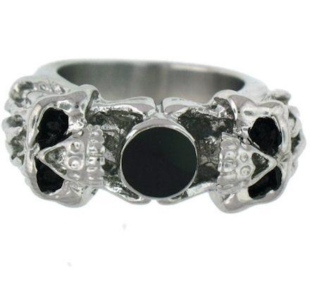Polished Black CZ Stone Center With Skull Accents Stainless Steel Ring
