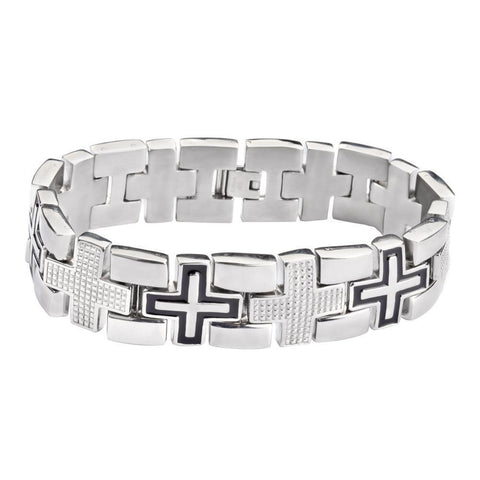 Men's Luxury Cross Bracelet Stainless Steel Religious Jewelry