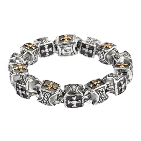 Men's Greek Plated Cross Bracelet Stainless Steel Religious Jewelry
