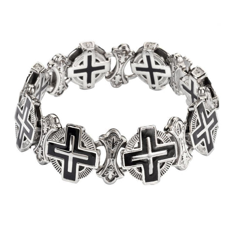 #Men's Greek Halo Cross Bracelet Stainless Steel