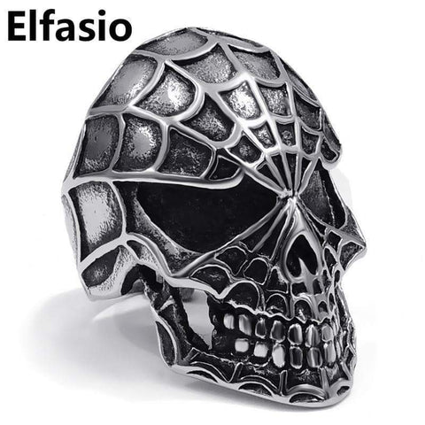 Spider Skull Ring Band - 316l Stainless Steel - Men's Gothic Biker Jewelry