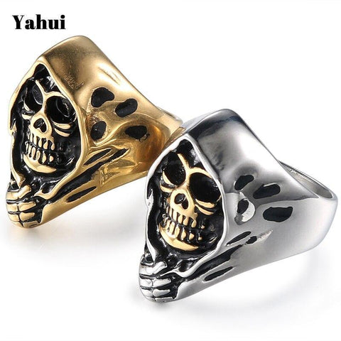 Stainless Steel Biker Gold Black Stainless Steel Skull Rings Couple Rings Jewelry Gifts For Men