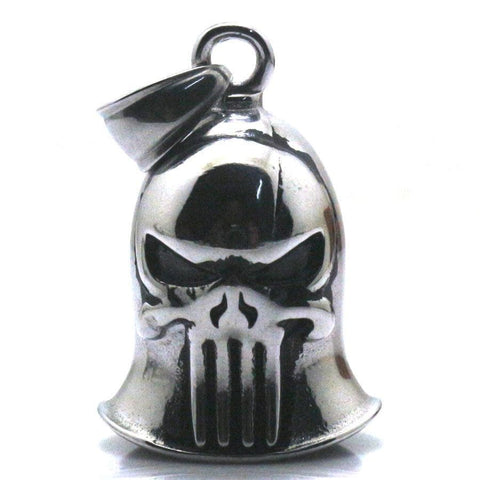 Cool Biker Jingle Bell 316L Stainlesss Steel Silver Punisher Cool Pendant Great Gift For Friend