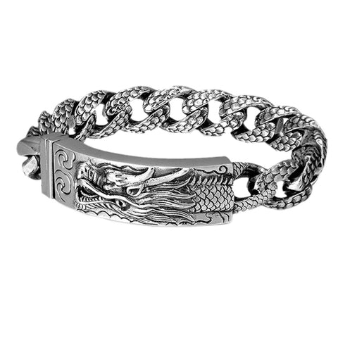 2020 new real solid S925 silver bracelet for men retro Thai silver domineering personality punk phoenix dragon men bracelet