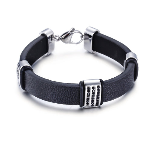 Simple Leather Bell with Triple Silver buckle Titanium Men's Bracelet