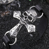 Simple Skull Head on Crisscross Titanium Steel Men's Bracelet