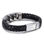 Vintage Canine Teeth and Knitted Bell Stainless Steel Men's Bracelet