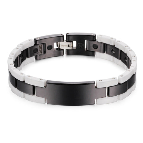 Simple Black and White Grid Ceramic Men's Bracelet