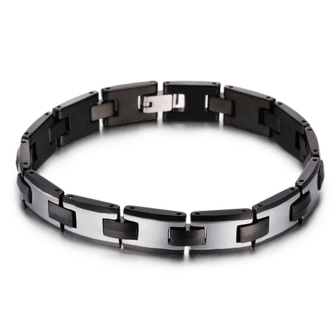 Simple I-shaped Watchband Silver Tungsten Steel Men's Bracelet