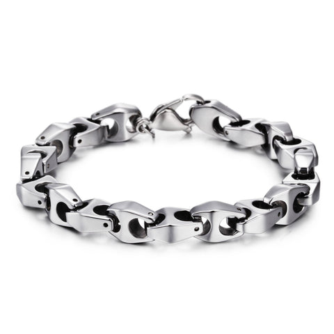 Simple Hook-ups Silver Tungsten Steel Men's Bracelet
