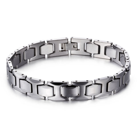 Silver Hexagon Watchband Tungsten Steel Men's Bracelet
