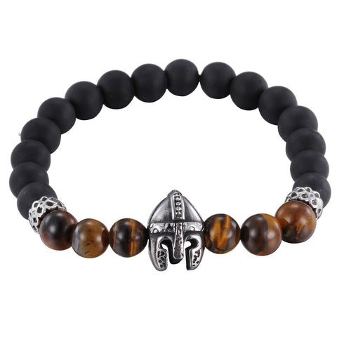 Simple Bead Chain with Helmet Decoration Men's Bracelet