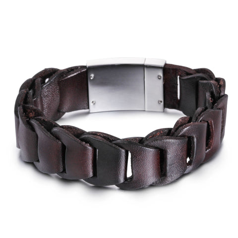 Silver Plate with Hook-ups Leather Men's Bracelet