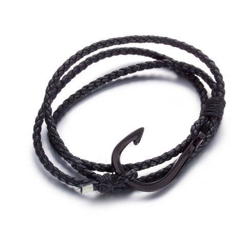 Simple Hook with Multiple Knitted Bell Titanium Steel Men's Bracelet