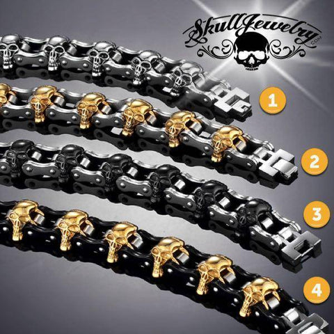 """It's Only Rock 'n Roll"" Big, Bold & Thick Stainless Steel Skulls Bracelet"