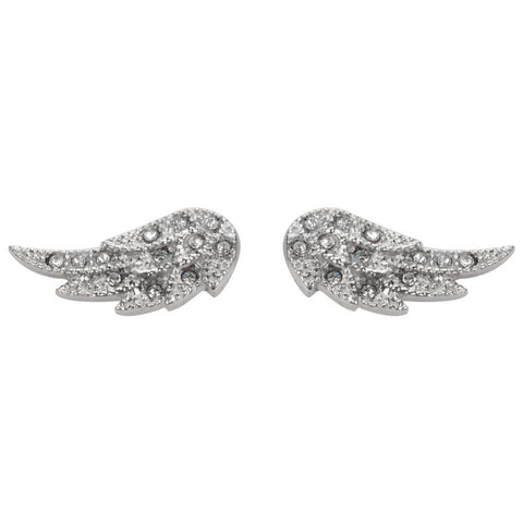 Angel Wing Bling Earrings Silver Tone Imitation Diamonds Stainless Steel Motorcycle Biker Jewelry