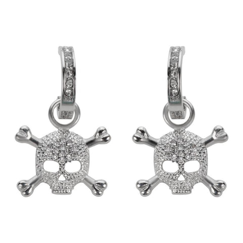 Bling Earrings Silver Tone Imitation Diamonds Stainless Steel Motorcycle Biker Jewelry